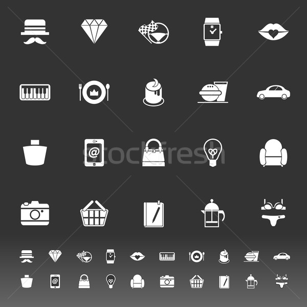Department store item category icons on gray background Stock photo © nalinratphi