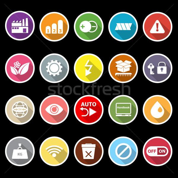 Elektronische teken iconen lang schaduw voorraad Stockfoto © nalinratphi