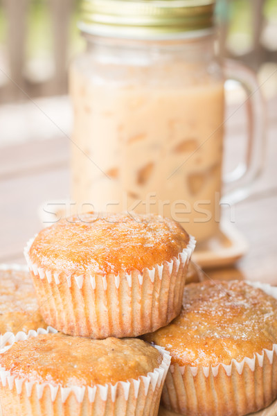 Banana muffins and iced coffee Stock photo © nalinratphi