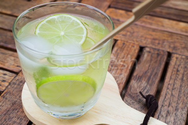 Close-up glass of lime infused water Stock photo © nalinratphi