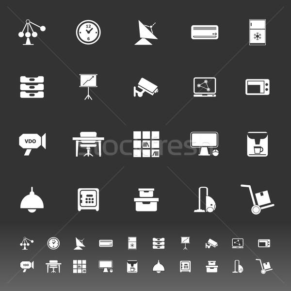 Generale ufficio icone grigio stock vettore Foto d'archivio © nalinratphi