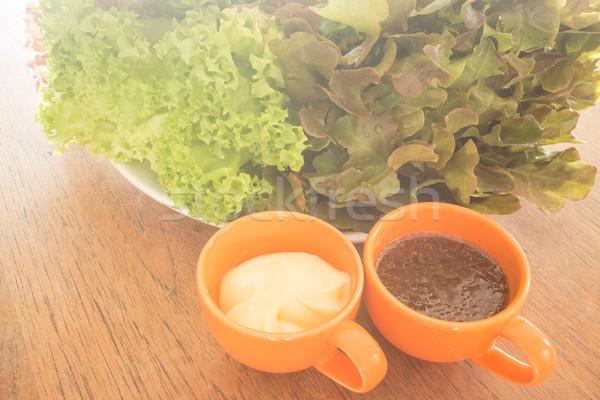 свежие органический Салат еды одевание складе Сток-фото © nalinratphi