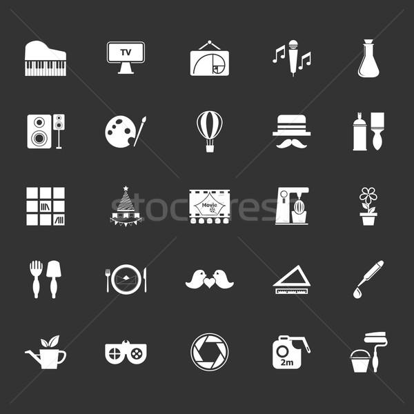 Kunst activiteit iconen grijs voorraad vector Stockfoto © nalinratphi