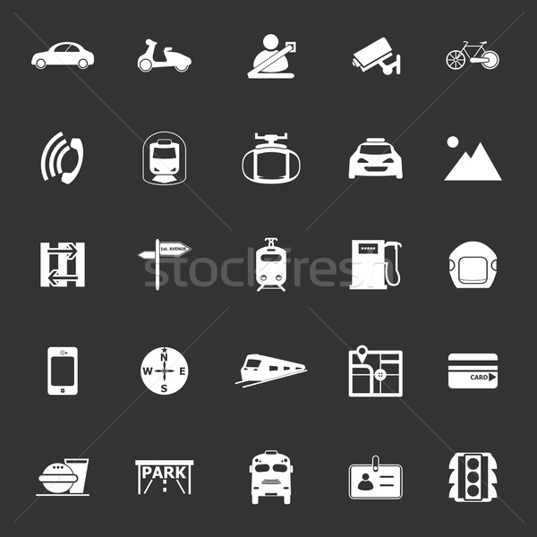 Land transport related icons on gray background Stock photo © nalinratphi
