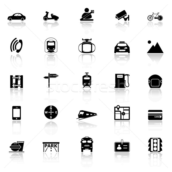 Land transport related with reflect icons on white background Stock photo © nalinratphi