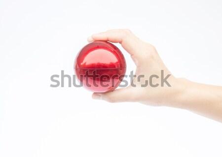 Hand Rood bal witte voorraad Stockfoto © nalinratphi