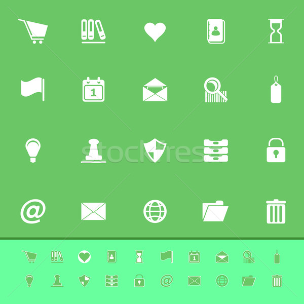 General folder color icons on green background Stock photo © nalinratphi