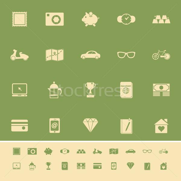 Nuttig collectie kleur iconen groene voorraad Stockfoto © nalinratphi
