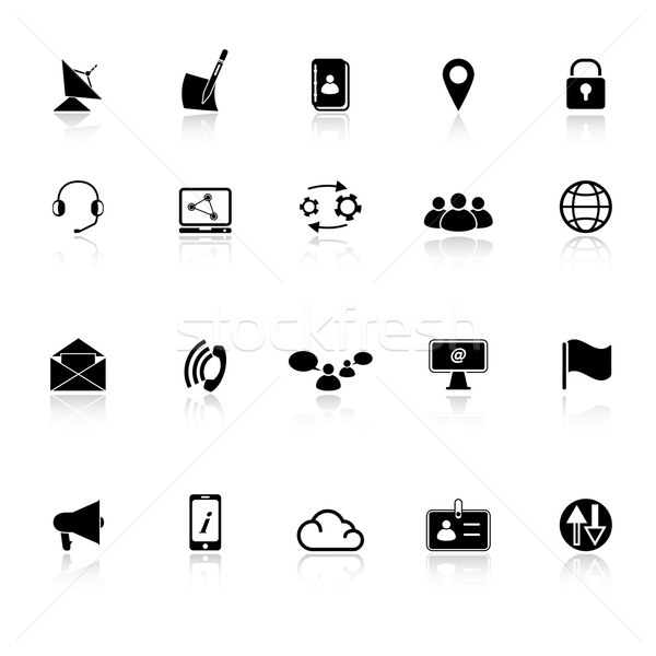 Communication icons with reflect on white background Stock photo © nalinratphi
