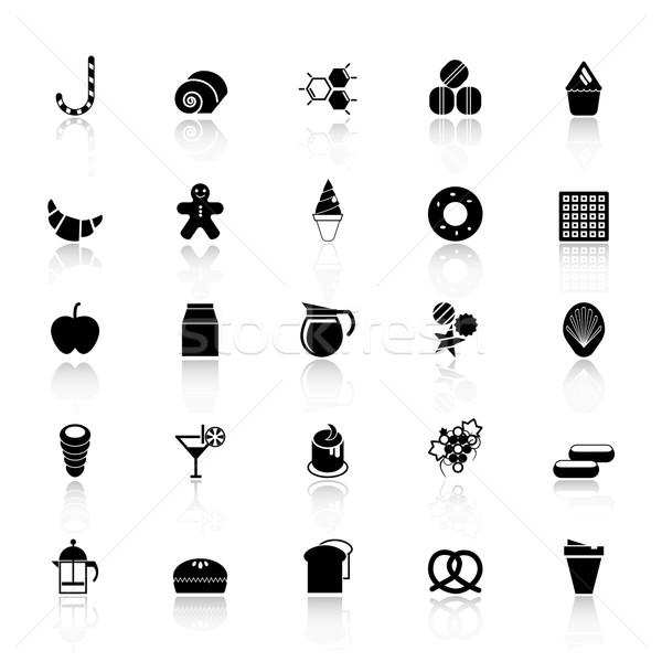Zoet voedsel iconen witte voorraad vector teken Stockfoto © nalinratphi