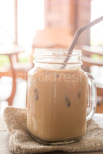 Mleka kawy szkła drewniany stół vintage Zdjęcia stock © nalinratphi