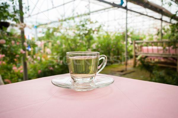 Thee tijd tuin voorraad foto tabel Stockfoto © nalinratphi