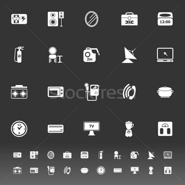 House related icons on gray background Stock photo © nalinratphi
