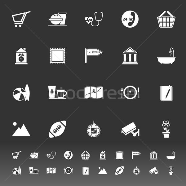 Public place sign icons on gray background Stock photo © nalinratphi