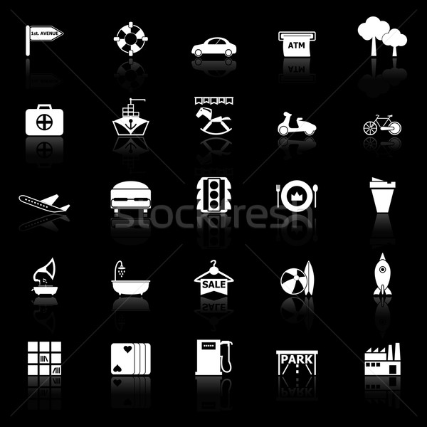 Map place icons with reflect on black background Stock photo © nalinratphi