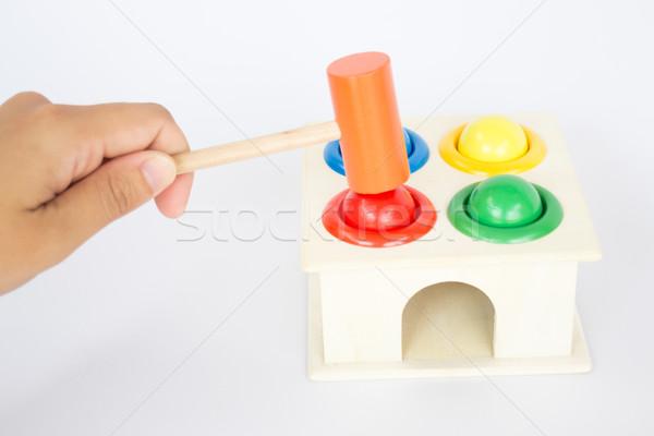 Spelen kleurrijk hamer geval houten speelgoed voorraad Stockfoto © nalinratphi