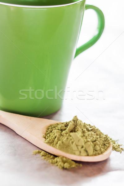 Sıcak içecek yeşil çay stok fotoğraf çay Stok fotoğraf © nalinratphi