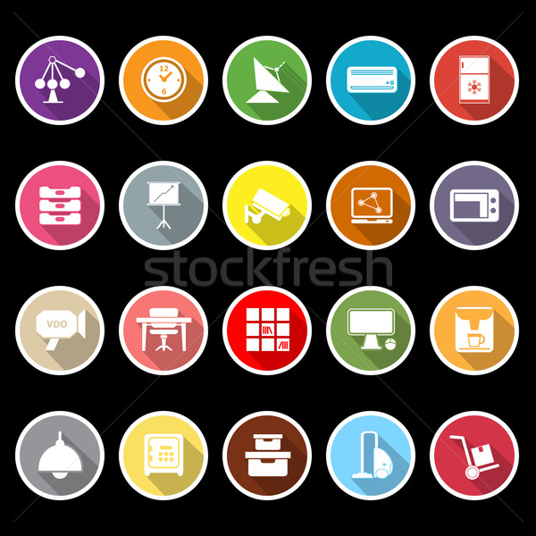 General office icons with long shadow Stock photo © nalinratphi