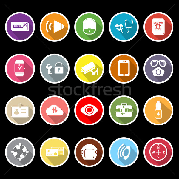 Passenger security flat icons with long shadow Stock photo © nalinratphi