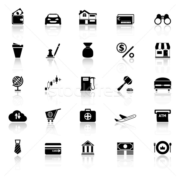 E wallet icons with reflect on white background Stock photo © nalinratphi