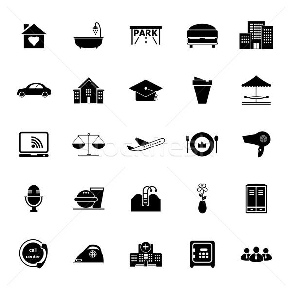 гостеприимство бизнеса иконки белый складе вектора Сток-фото © nalinratphi