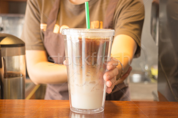 Double wall glass of iced coffee latte Stock photo © nalinratphi