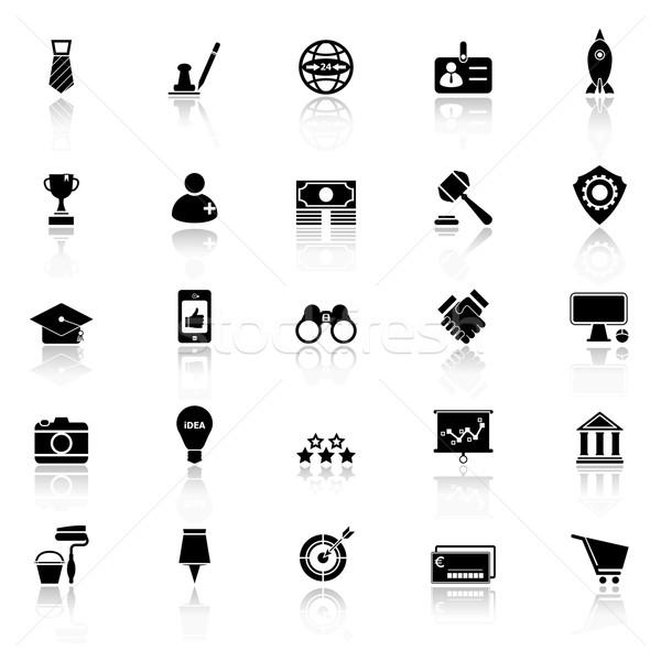 SME icons with reflect on white background Stock photo © nalinratphi