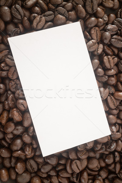 Roasted coffee bean and business card Stock photo © nalinratphi