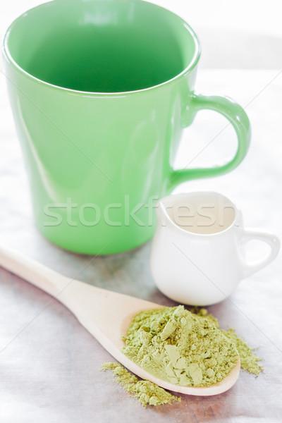 Set of making hot green tea latte drink Stock photo © nalinratphi