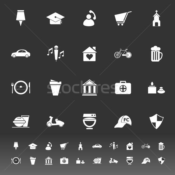 Térkép felirat szimbólum ikonok szürke stock Stock fotó © nalinratphi