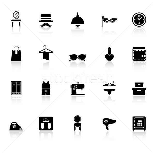 Dressing room icons with reflect on white background Stock photo © nalinratphi