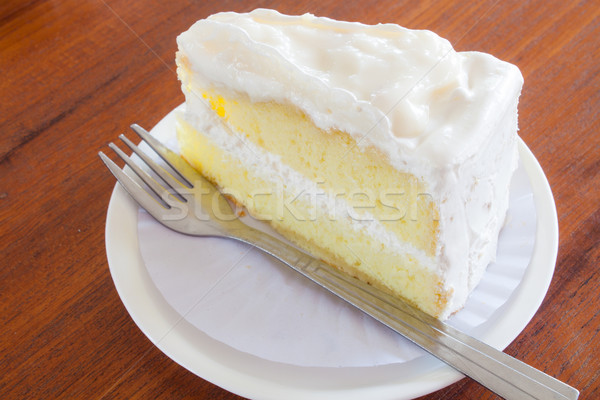 A piece of young coconut cake Stock photo © nalinratphi