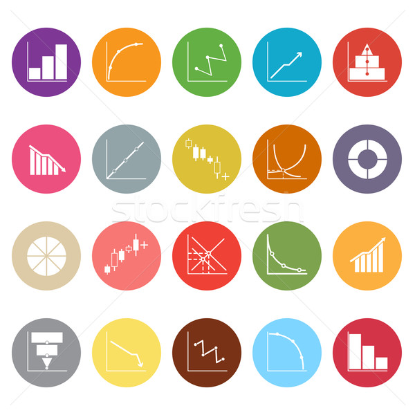 Diagram and graph flat icons on white background Stock photo © nalinratphi