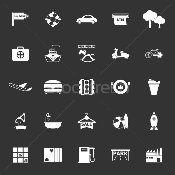 Stock photo: Map place icons on gray background