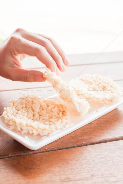 Mano thai stile croccante riso bianco Foto d'archivio © nalinratphi