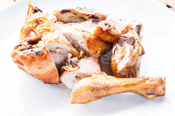 Gegrilde kip plaat voorraad foto restaurant diner Stockfoto © nalinratphi