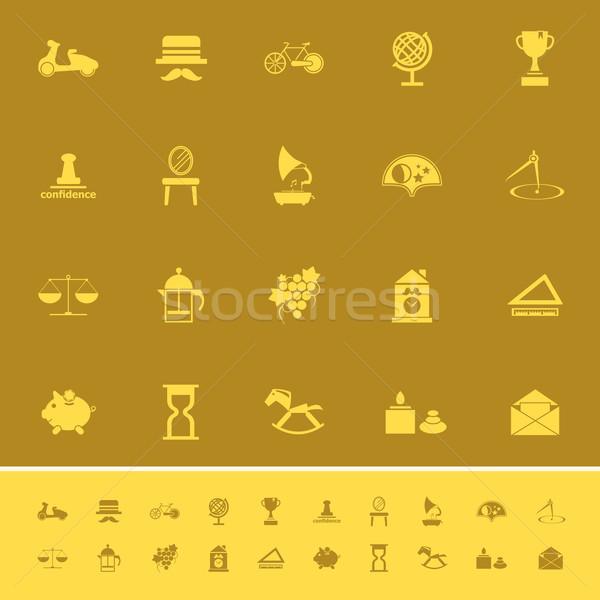 Vintage item kleur iconen bruin voorraad Stockfoto © nalinratphi