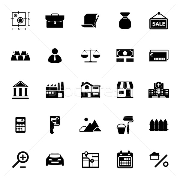 Mortgage and home loan icons on white background Stock photo © nalinratphi