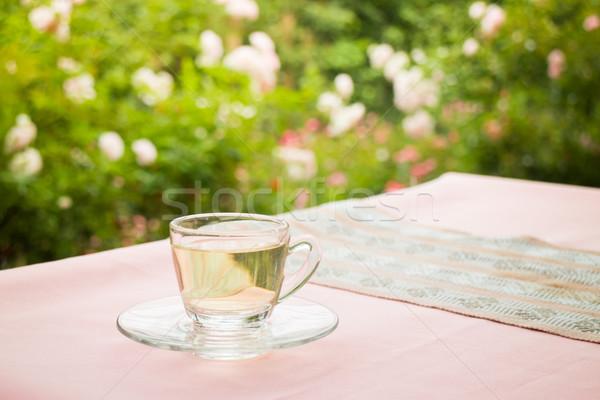 Té tiempo jardín stock foto mesa Foto stock © nalinratphi