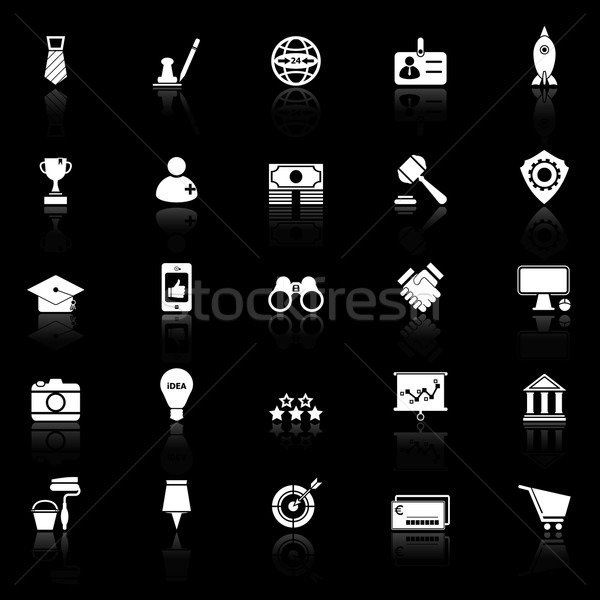 SME icons with reflect on black background Stock photo © nalinratphi