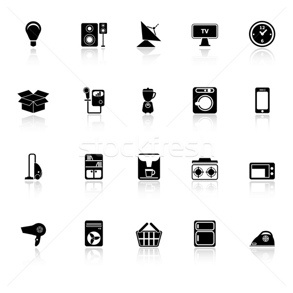 Home related icons with reflect on white background Stock photo © nalinratphi