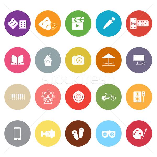 Entertainment iconen witte voorraad vector muziek Stockfoto © nalinratphi