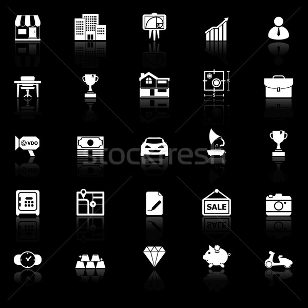 Asset and property icons with reflect on black background Stock photo © nalinratphi