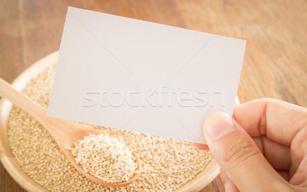 Organisch graan hand visitekaartje voorraad foto Stockfoto © nalinratphi