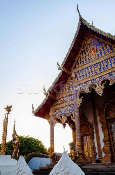 Ancient buddhist temple in northern thailand during sunset Stock photo © nalinratphi