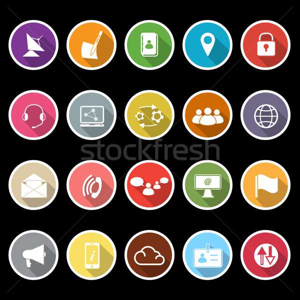 Stock photo: Communication icons with long shadow