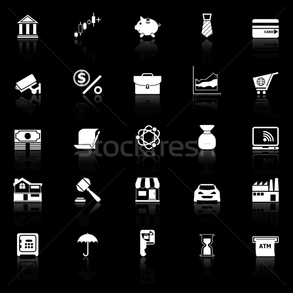 Banking and financial icons with reflect on black background Stock photo © nalinratphi