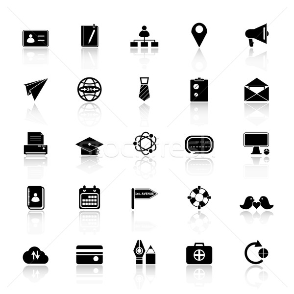Contact connection icons with reflect on white background Stock photo © nalinratphi