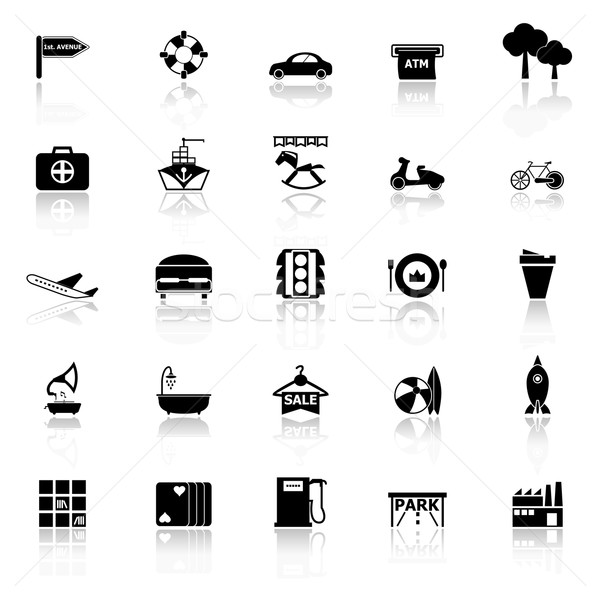 Map place icons with reflect on white background Stock photo © nalinratphi