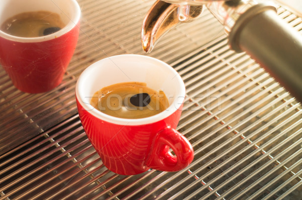 Fresh brew hot coffee from espresso machine with vintage filter  Stock photo © nalinratphi